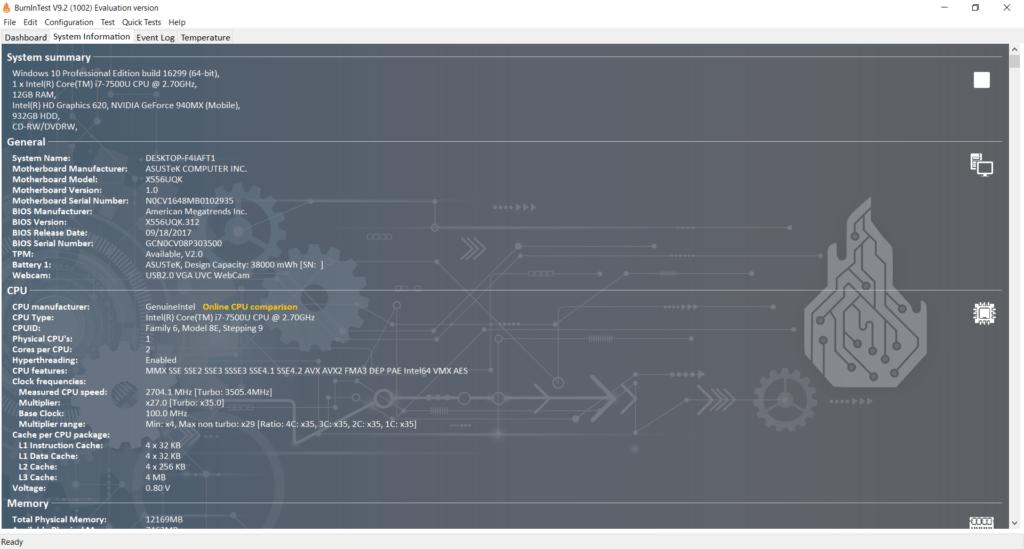 اطلاعات سیستم توسط نرم افزار PassMark.BurnInTest.