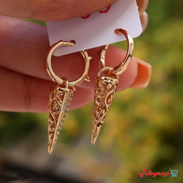 گوشواره قیفی بسیار زیبا و آبکاری طلا